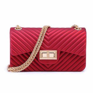 Handbags - RED JELLY PVC Silicone Gold Chain Crossbody Bag